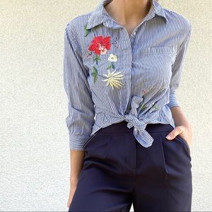 Walter Baker embroidered floral button front top